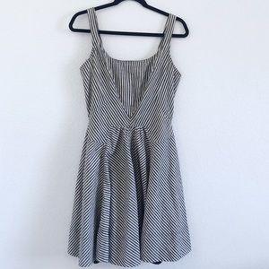 Soprano | black & white striped fit & flare dress
